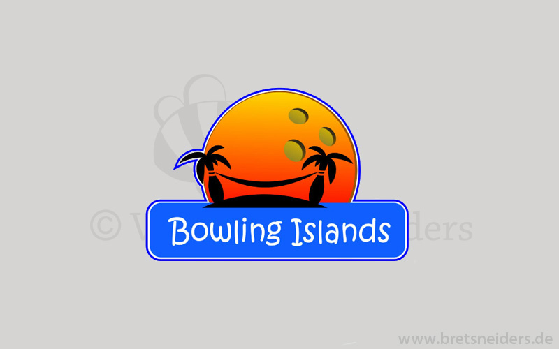 Logodesign illustrativ. Eine Insel mit Palmen im Form wie ein Bowling Kegel und Hängematte da zwischen. Sport , Spaß und Erholung im einem. Im Hintergrund rote Abendsonne a la Bowlingkugel versinkt im Ozean. Romantik pur